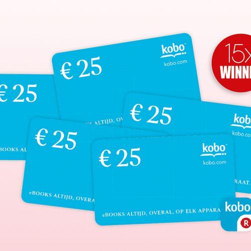 15X Kobo-giftcard t.w.v.€ 25,-